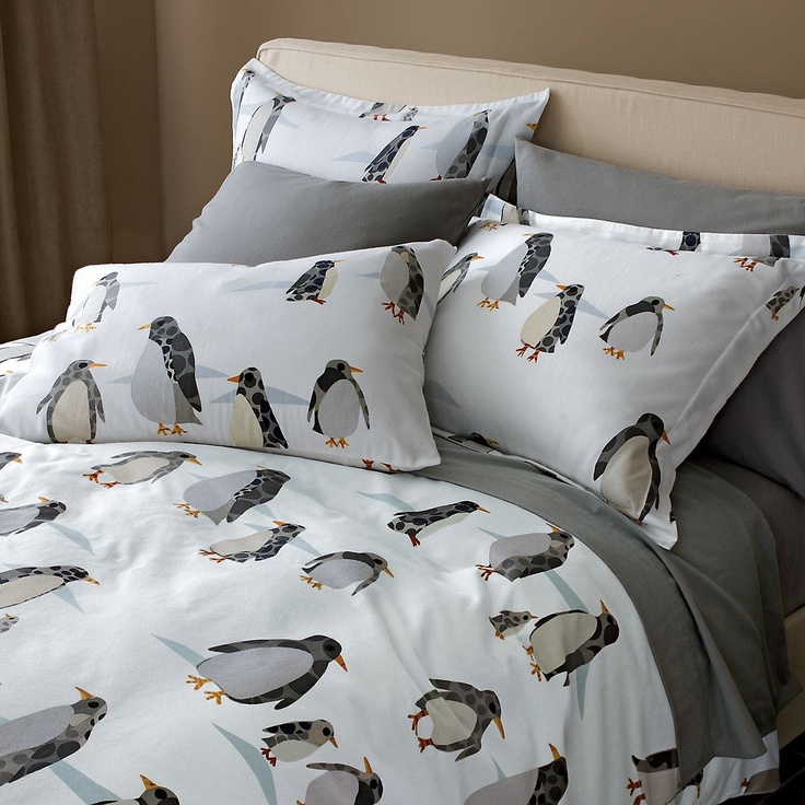 Penguin Promenade flannel sheets, found via Pinterest. Pillowcases: $28/set. Queen-size fitted & flat sheets: $42/sheet.