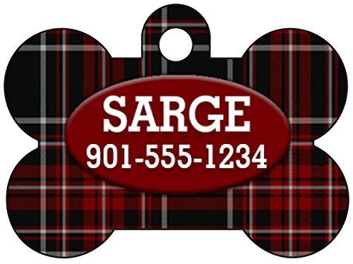 Plaid Dog Tag Pet Id Tag Personalized w Name  Number Dog Bone Red ** Read more reviews of the product by visiting the link on the image. (Note:Amazon affiliate link)