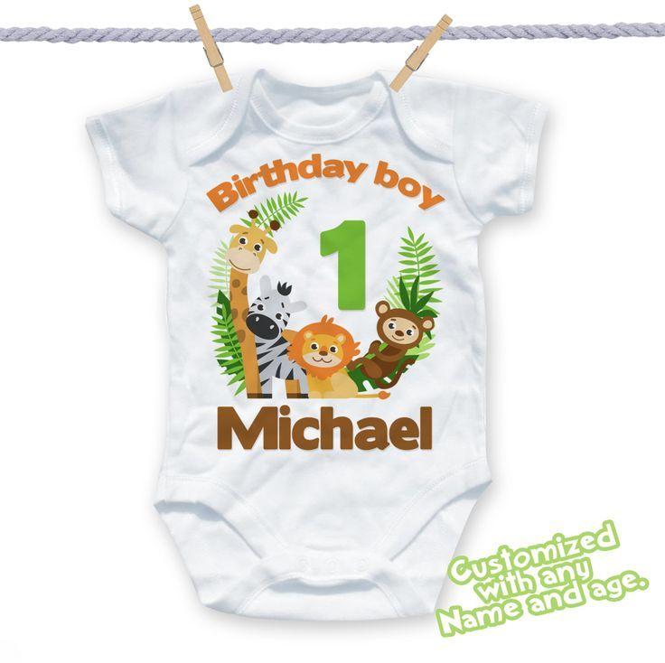 Personalised Safari Zoo Animals T-Shirt Add Your Name Birthdays Gifts Kids Tops