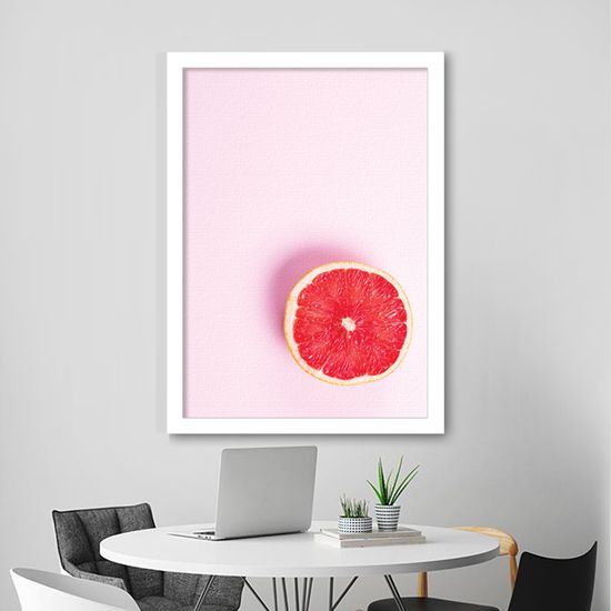 Πίνακας με μισό γκρέιπφρουτ σε ροζ φόντο!Φέρνει το καλοκαίρι στο σπίτι σας! #foodanddrinkcanvas #πίνακεςφαγητού #grapefruit #minimaldecoration