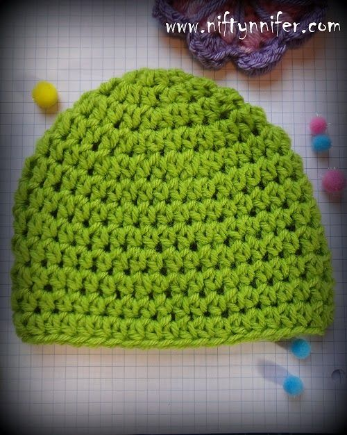 Free Crochet Pattern For Half Double Crochet HDC Beanie All Sizes By Niftynnifer
