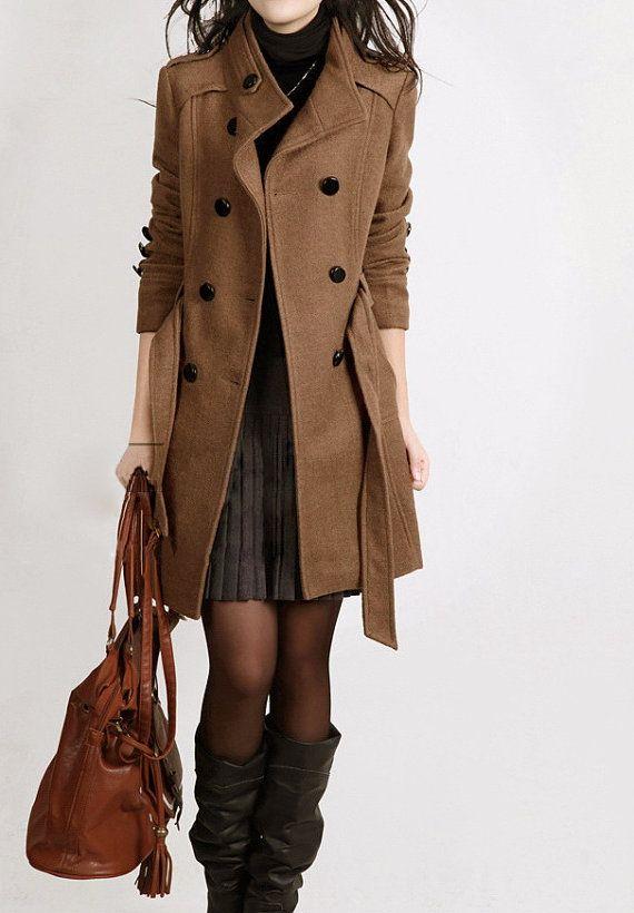 4d0133209baa brown black long jacket Wool Coat Women jacket high quality winter long coat  belt jacket women clothing winter office coat