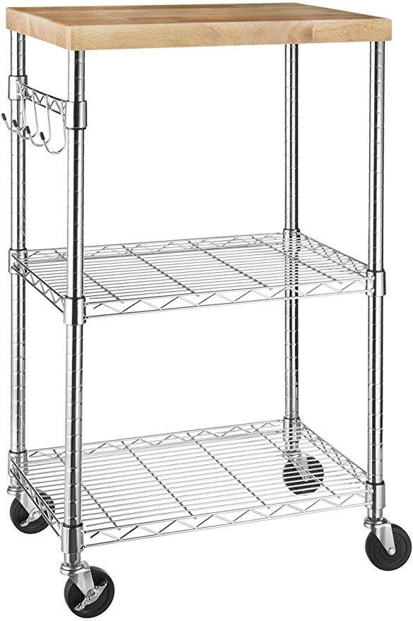 Amazon Com Amazonbasics Kitchen Rolling Microwave Cart On Wheels Storage Rack Wood Chrome Home Kitchen Microwave Cart Kitchen Cart Storage Rack