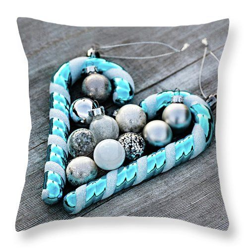 Throw Pillow featuring the photograph The Heart by Evgeniya Lystsova. Christmas Ornamnets Collected on Wooden Table for Decorating Christmas Tree, Winter Holiday Concept. Make Christmas Magic. More styles for your Home Decor you can find in my gallery. Our Throw Pillows are made from 100% spun polyester poplin fabric and add a stylish statement to any room. Each Pillow is printed on both sides (same image) and includes concealed zipper. #ThrowPillow #Christmas #Decorations #HomeDecor #Gift