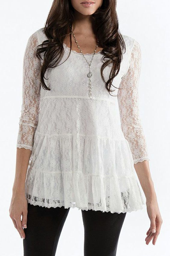 White Lace Tier Top - Women & Plus