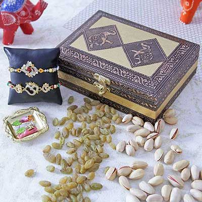 Two Cz Om Rakhi with Wooden Metal Dry Fruit Box with pista n kishmish