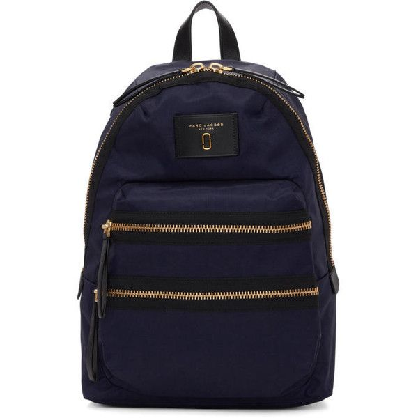 Marc Jacobs Navy Nylon Biker Backpack ($195) ❤ liked on Polyvore featuring bags, backpacks, navy, bike bag, zip bag, nylon backpacks, day pack backpack and navy blue rucksack