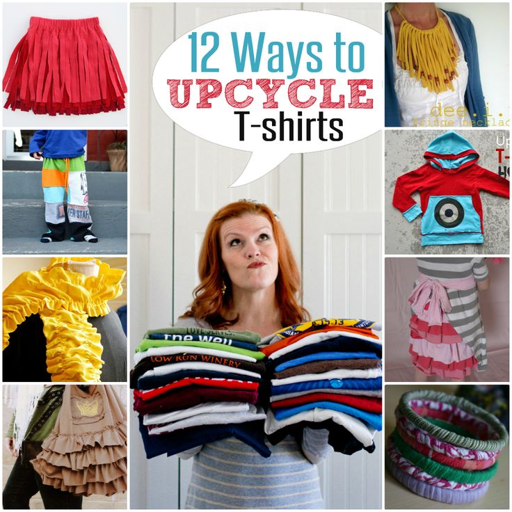 12 Upcycled T-shirt Ideas - Click on Pic, Scroll down just a tad & there will be a Link to click on... Takes you to TUT for each idea Picture!!