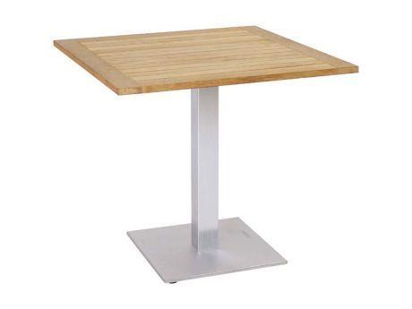 Stern Gartentisch/Bistrotisch Aluminium Edelstahloptik Bambus 70x70 cm