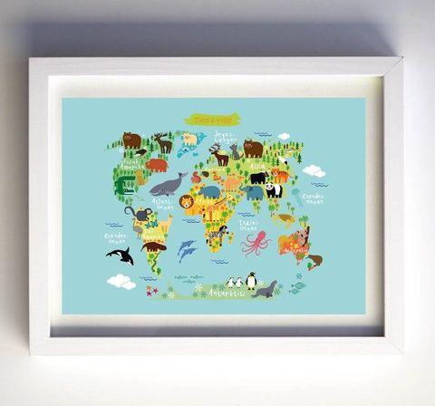 Állatos világtérkép babaszobába (kkreabeaa) - Meska.hu