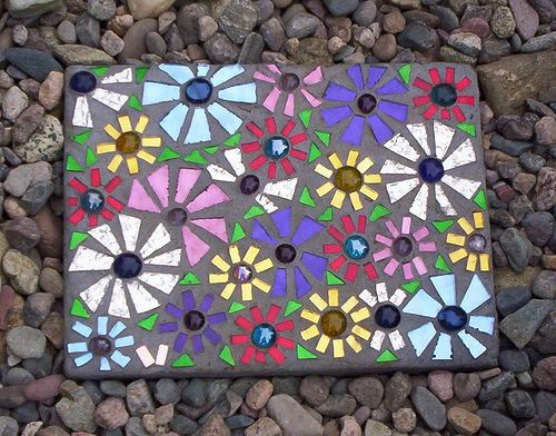 Mirror Mosaic Stepping Stone by GardenDivaDeb, via Flickr