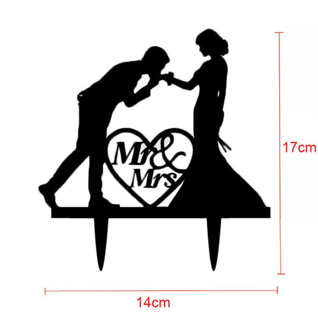 Tronzo Wedding Cake Topper Mr Mrs Acrylic Black Toppers Romantic Bride Groom For Wedding Decoration Party Favors