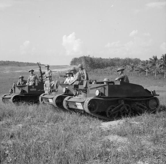 The British Army in Malaya, 1941.  Bren gun carriers of the 2nd Loyal Regiment in training, October 1941.