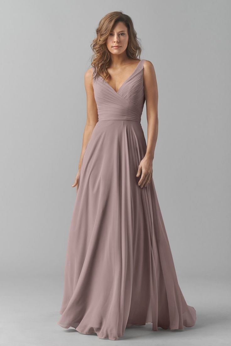 Shop Watters Bridesmaid Dress - 8542i in Crinkle Chiffon at Weddington Way. Find the perfect made-to-order bridesmaid dresses for your bridal party in your favorite color, style and fabric at Weddington Way.