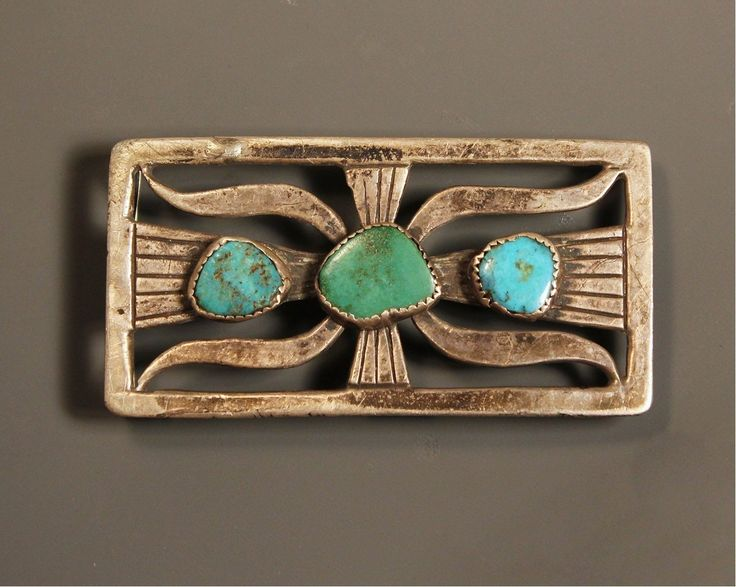 1940s Old Pawn Navajo Tufa Cast Turquoise Sterling Belt Buckle | eBay