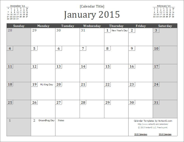 2015 Monthly Calendar with Holidays | 2015 Calendar Templates and Images
