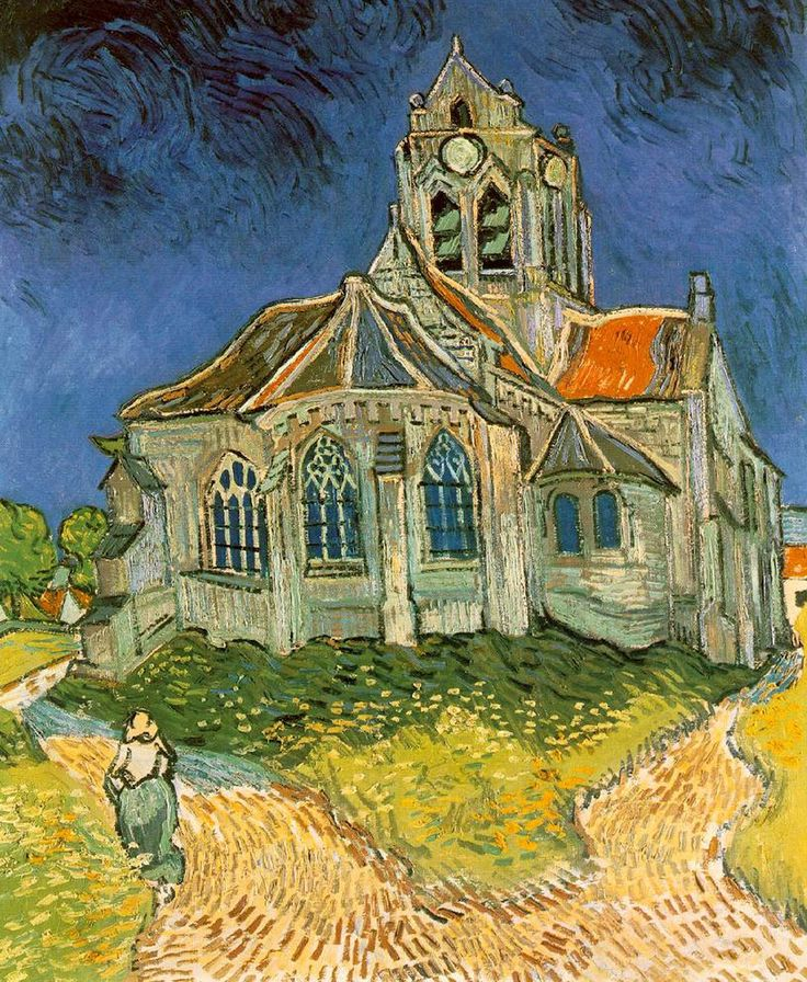 """""""The Church at Auvers"""" by Vincent Van Gogh - 1890"""