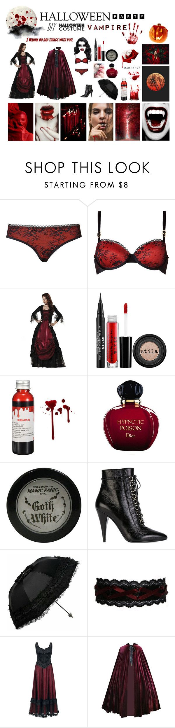 Halloween Party: Vampire!! by marty-97 on Polyvore featuring moda, STELLA McCARTNEY, Yves Saint Laurent, Manic Panic NYC, Christian Dior, Stila and Ødd.