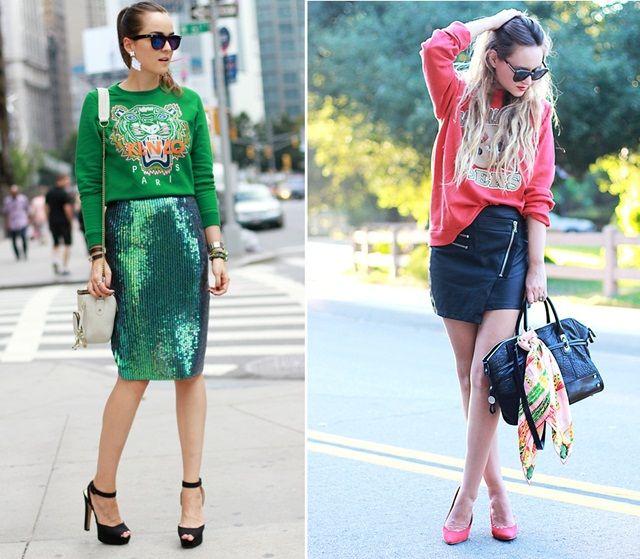Com a chegada do frio, vamos ver muitos looks de saia com moletom pelas ruas. A dupla apareceu bastante no hemisfério norte e pode ser uma boa opção para os dias de friozinho.   Aposte!