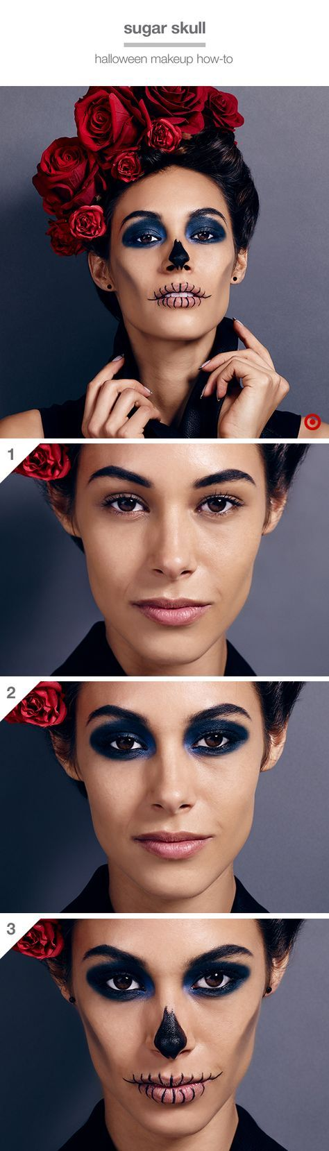 Go all-out with a killer (but easy) Halloween look: 1. Give brows a fierce arch with dark eyebrow wax. 2. Apply dark navy shadow on eyelids, creases and under eyes for a deep-set, dramatic look. Line waterlines with black liner & apply mascara. 3. Apply concealer on lips. Keeping lips closed, draw vertical lines across both lips with black gel liner. Then smudge black costume makeup along the cheekbones and down toward the chin and paint the tip of the nose. Dying to try it? Shop the look.