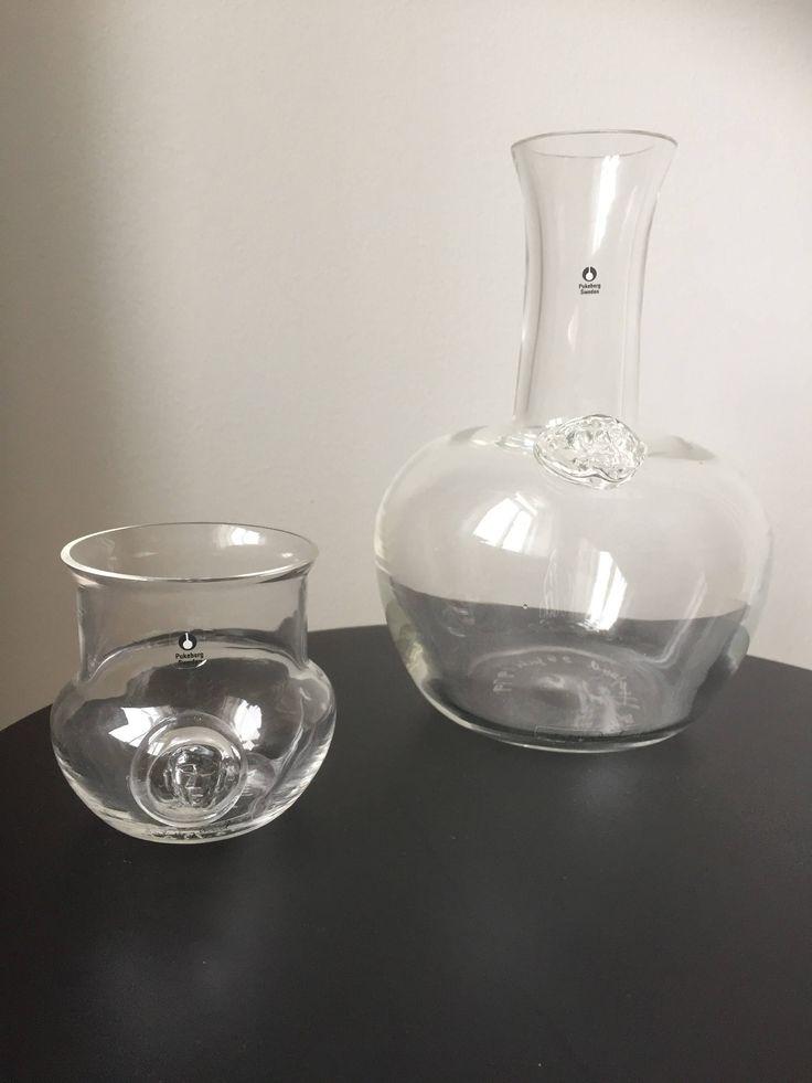 Signed/Erik Hoglund/decanter and glass/1979/pukeberg glassworks/Sweden/handblown/face by WifinpoofVintage on Etsy