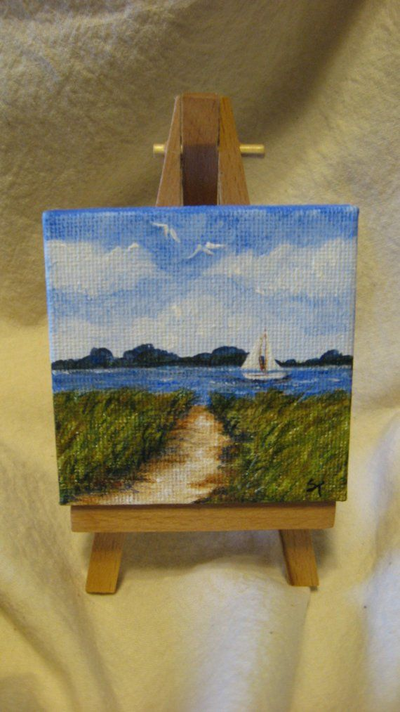 This is an original acrylic painting on a mini canvas(measures 2-3\/4 x 2-3\/4).The easel IS included with this purchase. The painting goes around