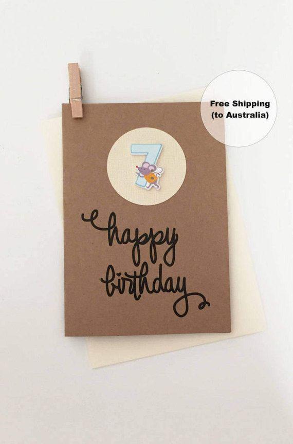 7th Birthday Card – 7th Happy Birthday Card – Age 7 Happy Birthday Card – Seventh Happy Birthday Card – Happy 7th Birthday Card