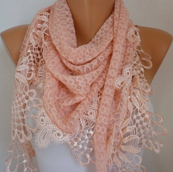 by fatwoman, $21.00: Lace Edge, Salmon Scarf, Lace Scarf, Lace Shawl, Color, Cute Scarfs, Necklace Cowl, Scarf Headbands