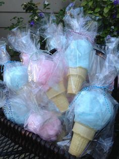 Supplies Needed: Cotton Candy Ice Cream Cones Twine Bags Rip apart cotton candy and roll it into a ball then shove it into an empty ice cream cone. Put them inside plastic baggies and tie it with twine! These would make the cutest party favors for a baby shower, birthday, or carnival! This idea and …