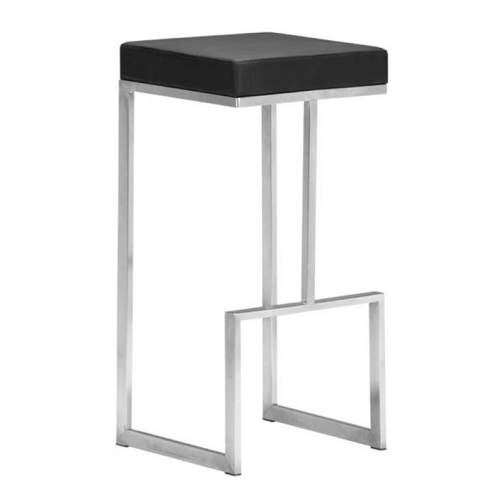 Modern Stainless Steel Bar Stool In Black   ON BACKORDER UNTIL JUNE 2017