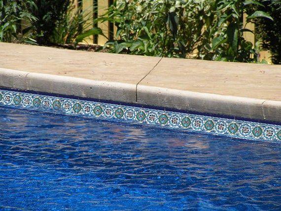 Waterline Pool Tiles Decorative Swimming Pool Mosaic Tiles 6in Etsy In 2020 Waterline Pool Tile Pool Tile Mosaic Pool