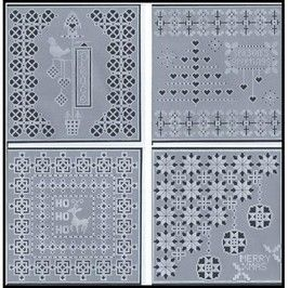 PATTERN PACK 23 GRIDDED CHRISTMAS  Gridded Christmas contains four beautiful gridwork pattern cards for Christmas