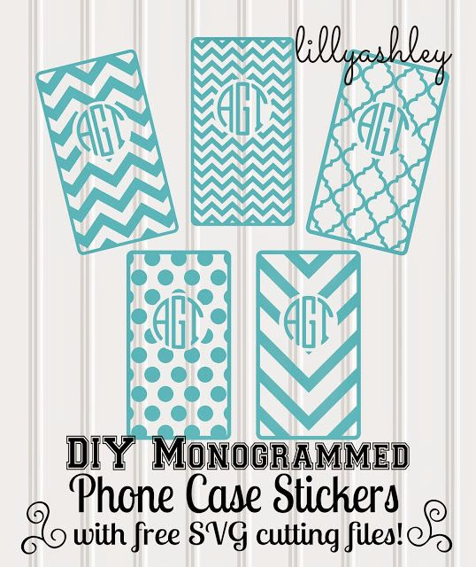 freebie cutting file set to create monogrammed decals for your phone case!! chevron, quatrefoil, polka dots!