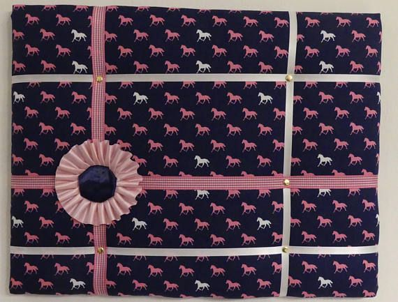 French memory board/ padded pin board with little horses fabric festuring horse show ribbon detail. Made by English Rein. Shop at www.facebook.comgenglishrein of on etsy at https://www.etsy.com/listing/563473451/little-horses-french-memory-board-padded