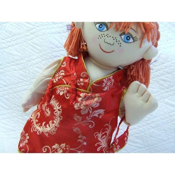 "18"" Girl Rag Doll In Chinese Oriental Dress"