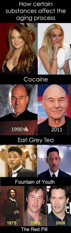 Film-Stars haben so ihre eigenen Tricks gegen das Altern.Hier die Übersicht von Patrick Steward (Picard aus der Enterprise) über Will Smith bis zu einigen, die man gar nicht mehr wiedererkennt…  tanrua:    Makes sense.