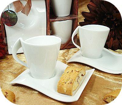 Italian 4pc Espresso Biscotti Plate Set Wedding Favors