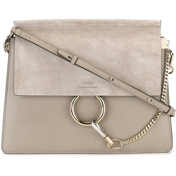 Chloé Faye shoulder bag (12,585 CNY) ❤ liked on Polyvore featuring bags, handbags, shoulder bags, grey, genuine leather shoulder bag, chloe shoulder bag, grey handbags, grey purse and grey shoulder bag