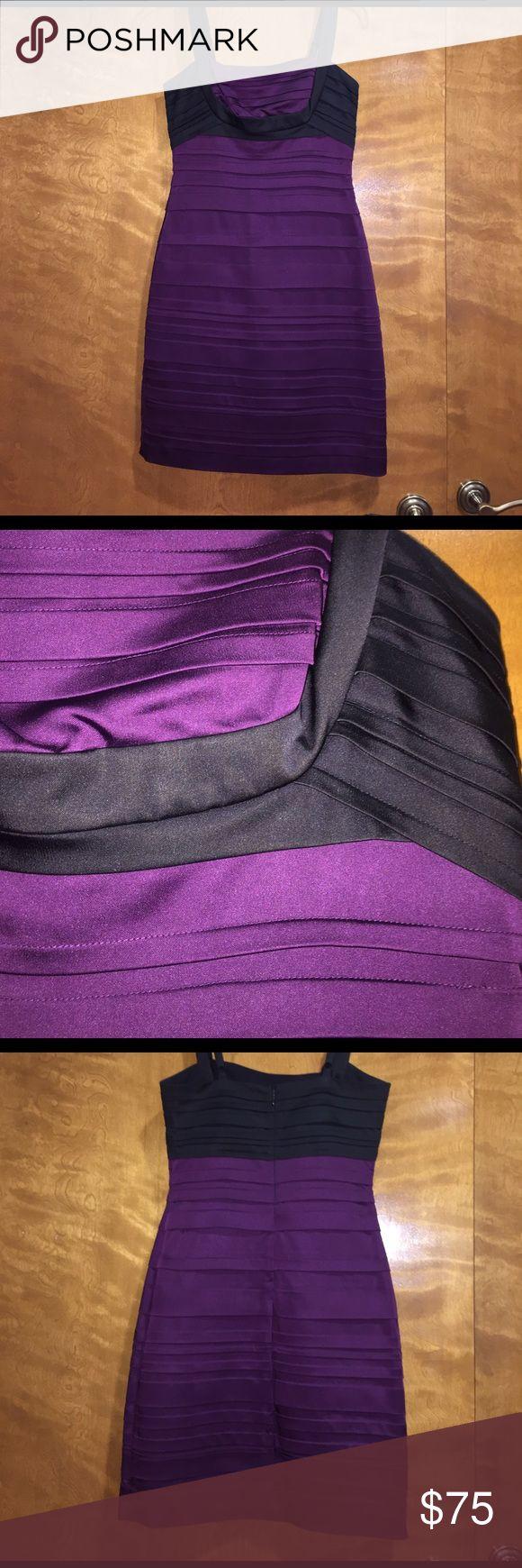 BCBG size 4 purple and black dres BCBG size 4 purple and black dress! Only worn once! BCBG Dresses