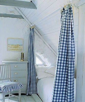 swedish farmhouse style; knee wall solutions; bedroom; blue check curtains