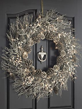 Silver Winter Wreath - Lighted Wreath Decor | Solutions