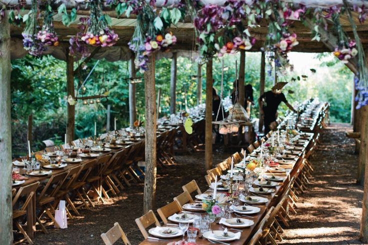 Tableware at vintage folding chairs at rustic woodland wedding in Kent  #wedding #chair #hire #rustic #vintage #wooden #table #furniture #events #trestle #beautiful