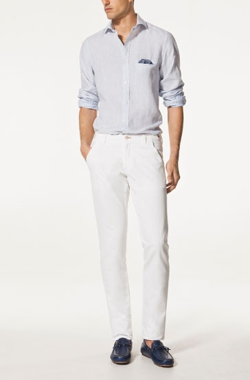 LINEN AND COTTON CHINO TROUSERS - Trousers - GARMENT - MEN - United Kingdom
