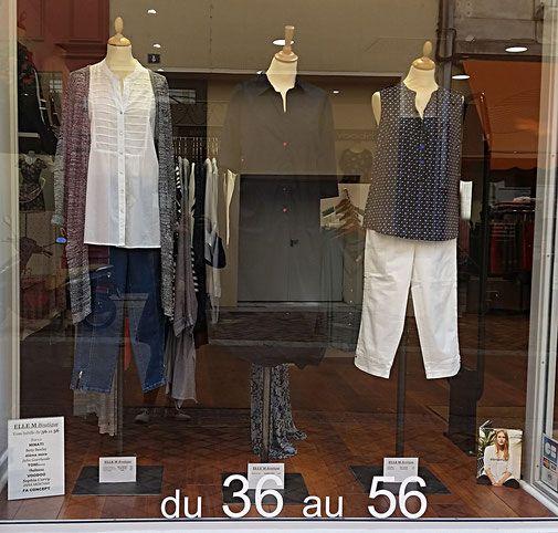 les vitrines de la boutique elle m chemise blanche 39 betty barclay 39 veste longue en maille. Black Bedroom Furniture Sets. Home Design Ideas