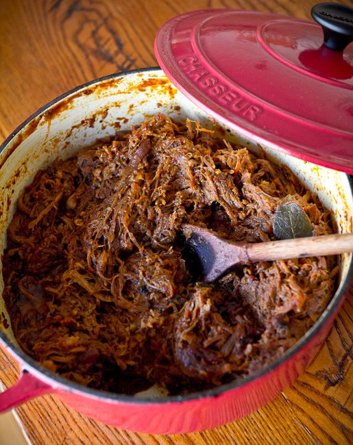 Pulled Pork in a Le Creuset Dutch Oven. Click through for your chance to win a 20 piece Le Creuset from Nebraska Crossing Outlets.