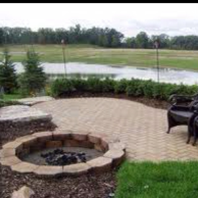 brick patio with pit outdoor ideas