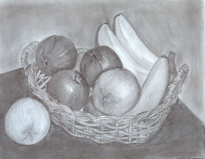 Fruit Basket Pencil Drawing by BrittanyPowell