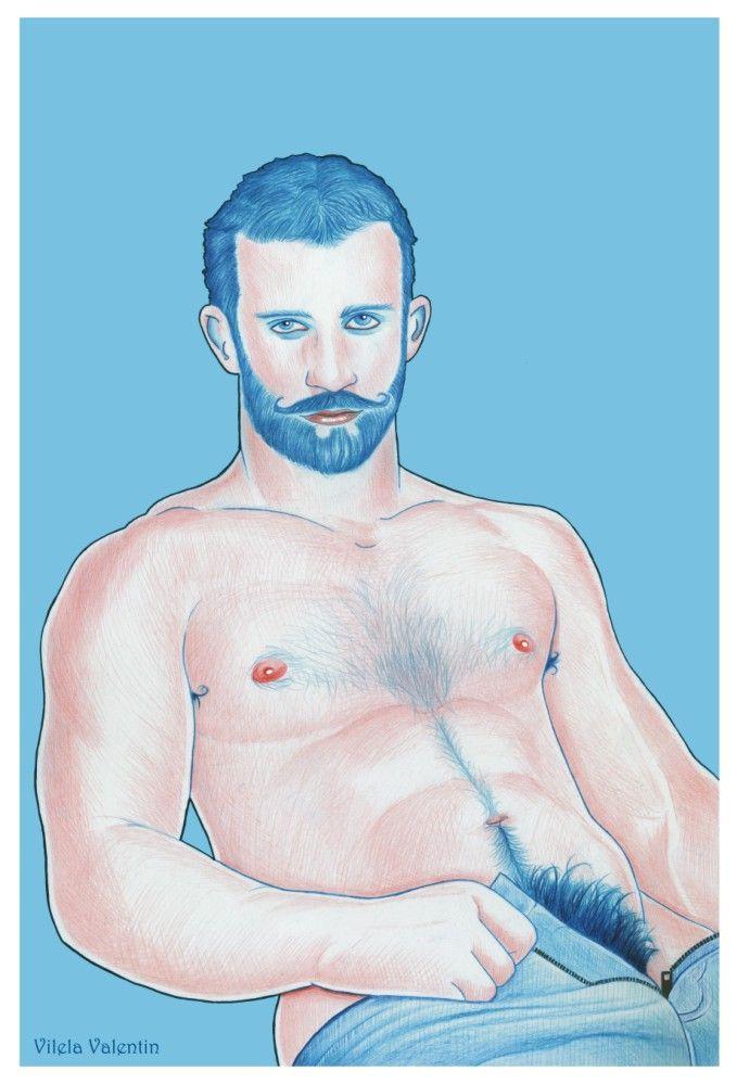Hairy - Acrylics on paper 300g - 32cm x 46cm  https://www.redbubble.com/people/vilelavalentin/works/26537407-hairy?asc=u