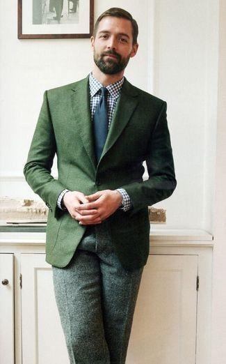 Men's Dark Green Blazer, White and Navy Gingham Dress Shirt, Dark Green Wool Dress Pants, Navy Tie