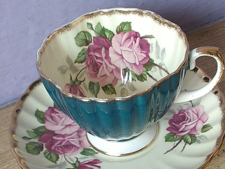 Vintage 1950's EB Foley England pink rose blue bone china tea cup teacup #midcentury #EBrainCoLtd